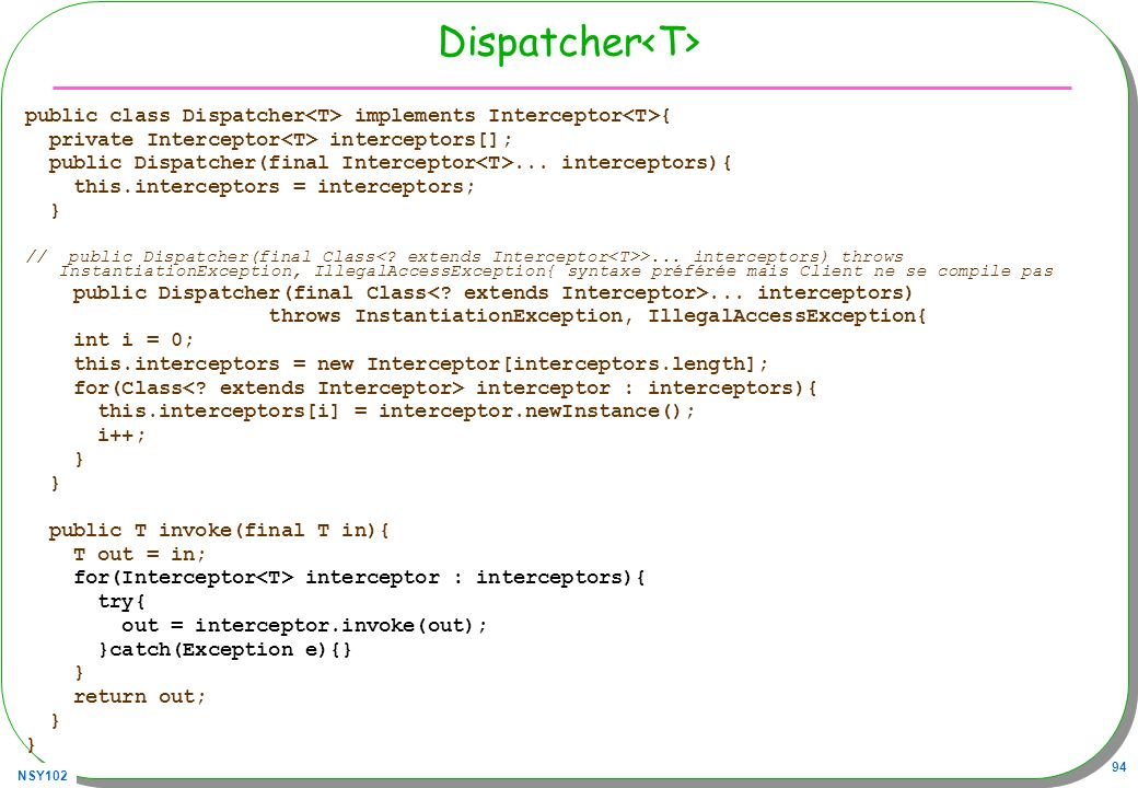 Dispatcher<T>public class Dispatcher<T> implements Interceptor<T>{ private Interceptor<T> interceptors[];